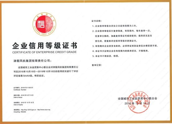 Tianjin Fan—Enterprise Credit Rating Certificate