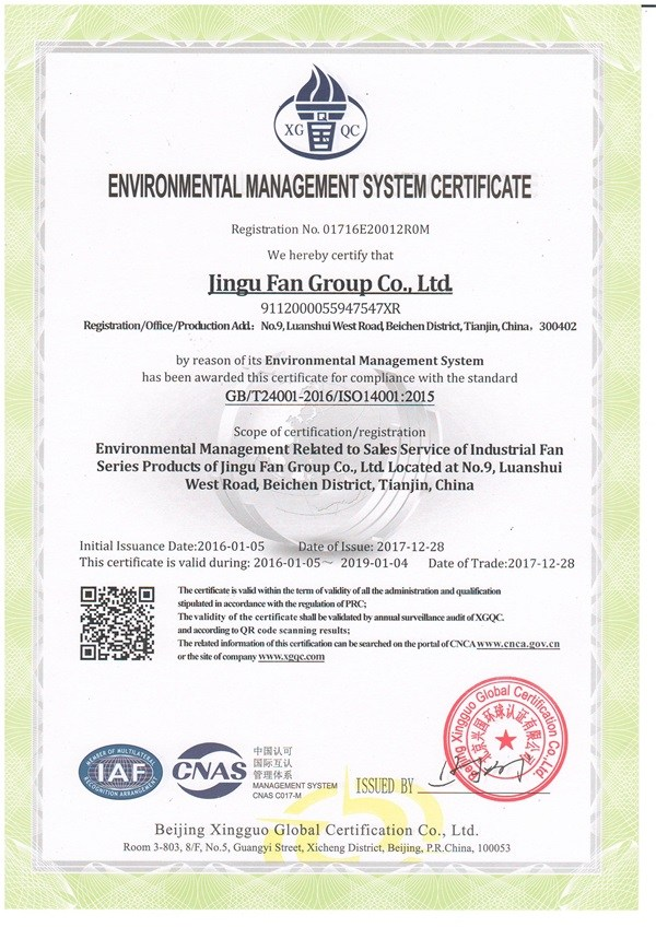 Tianjin Blower—Occupational Health and Safety System Certification